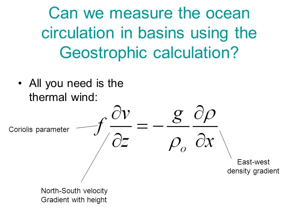 Can we measure the ocean circulation in basins using the Geostrophic calculation