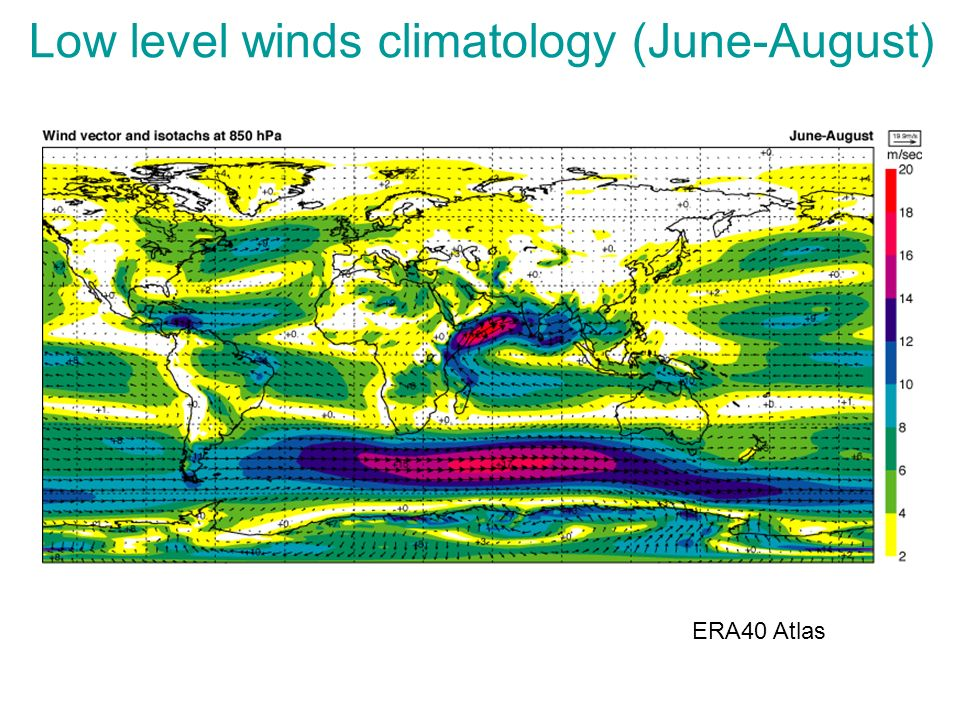 Low level winds climatology (June-August)