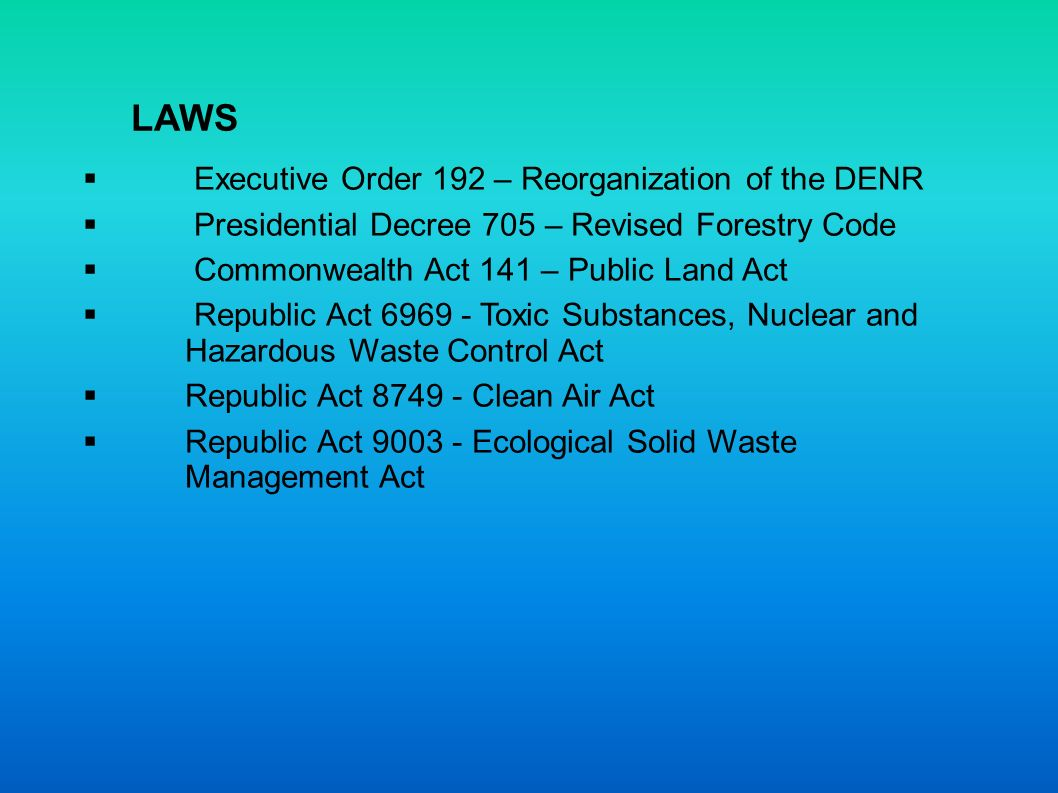 LAWS Executive Order 192 – Reorganization of the DENR