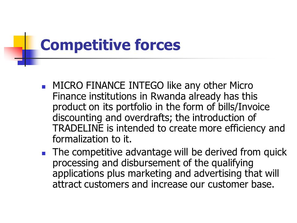 DEVELOPING A TRADE LINE PRODUCT IN MICRO–FINANCE INTEGO