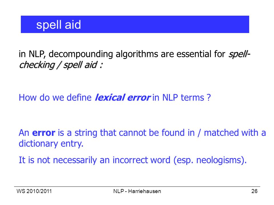 How do we define lexical error in NLP terms