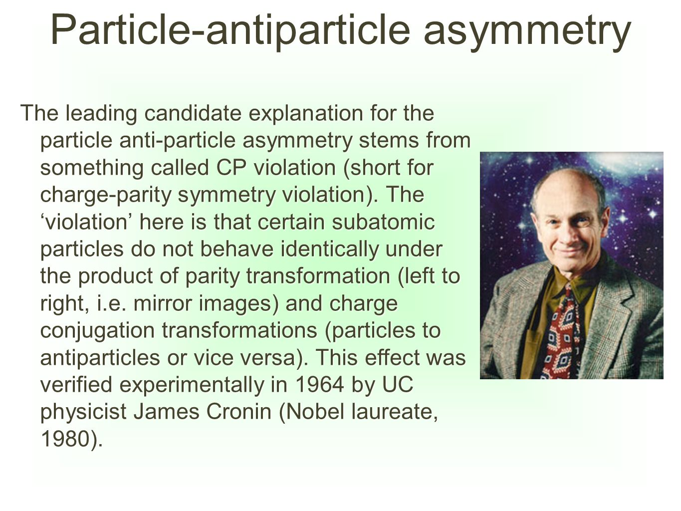 Particle-antiparticle asymmetry