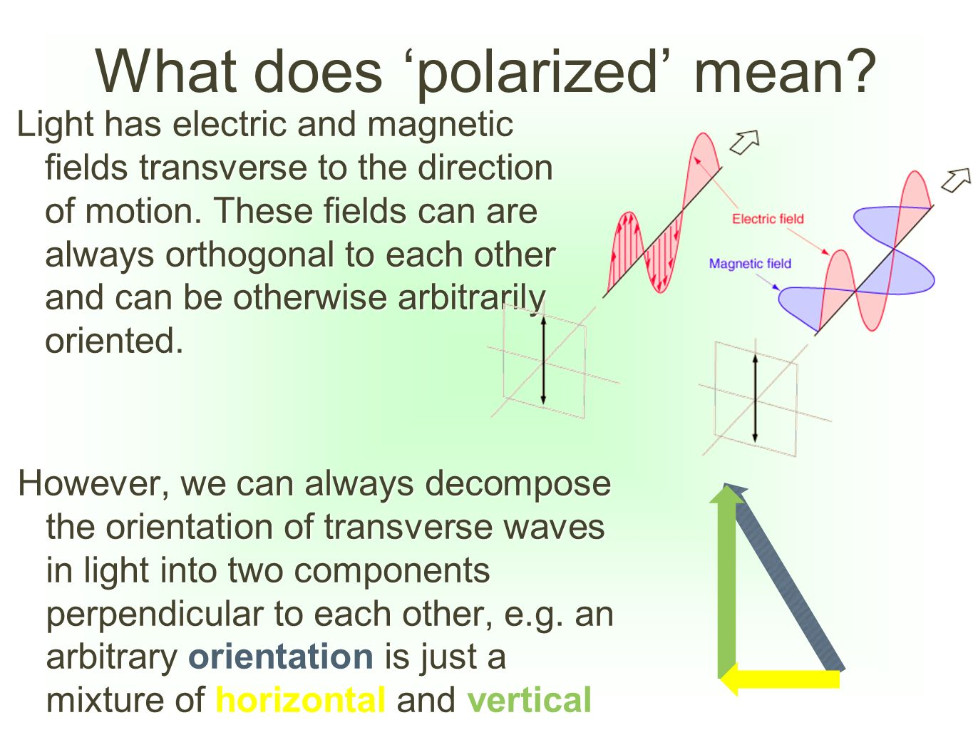 What does 'polarized' mean