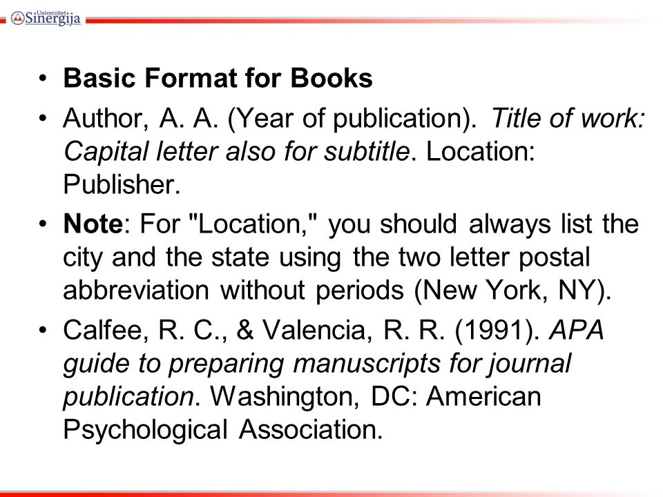 basic format for books author a a year of publication title of work