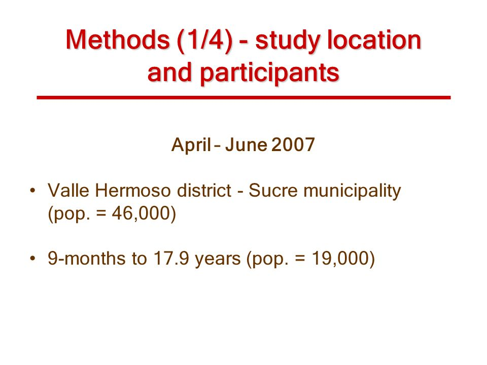 Methods (1/4) - study location and participants