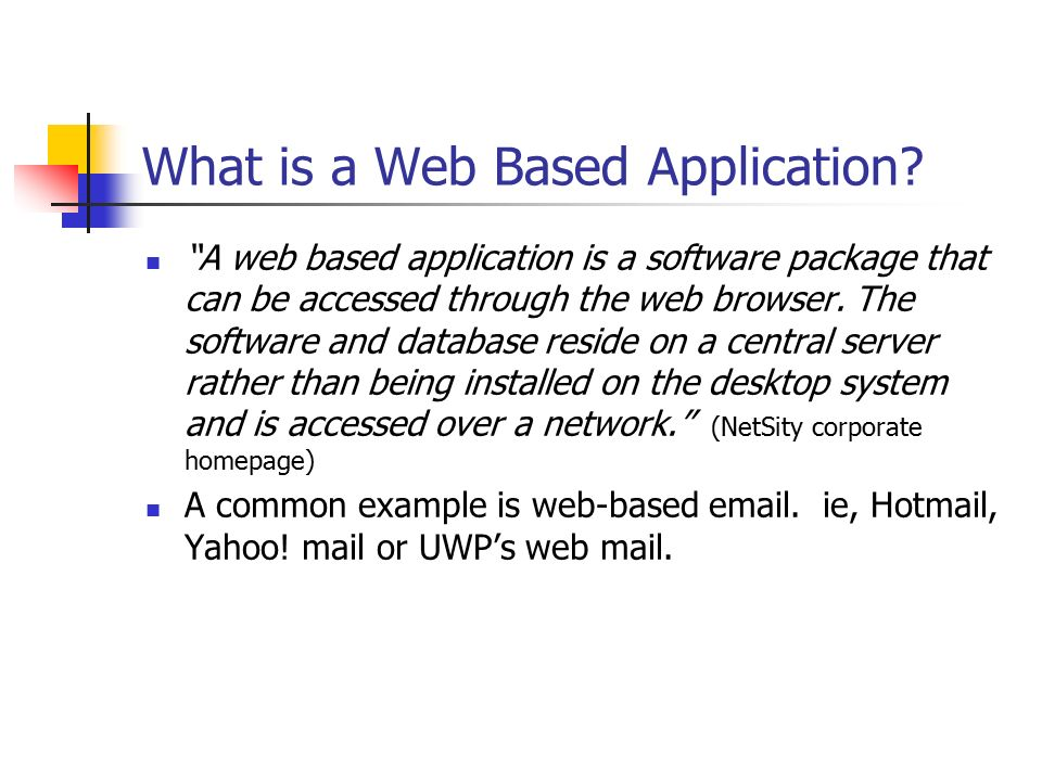 Web Based Applications - ppt video online download