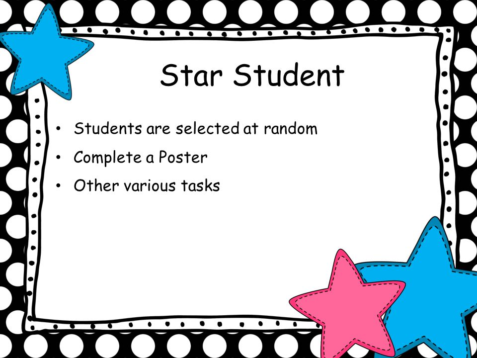 Star Student Students are selected at random Complete a Poster