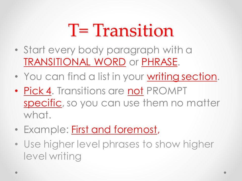 list of transition words to start a paragraph