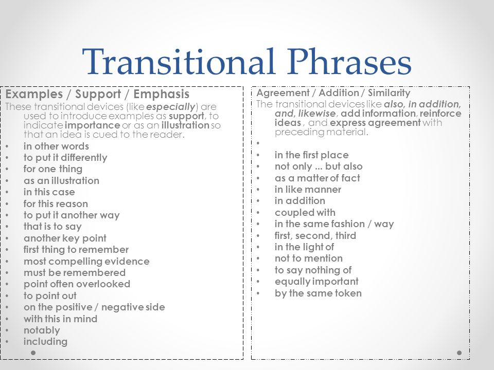 Transitional Phrases Examples / Support / Emphasis