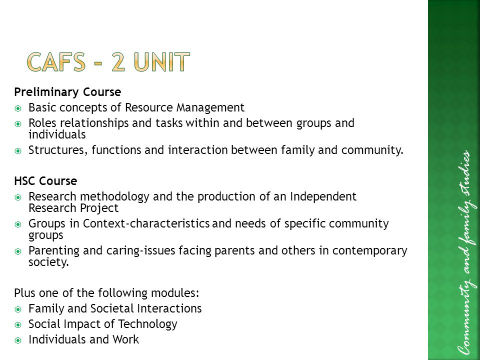 independent research project cafs