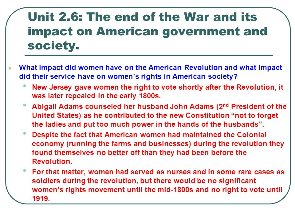 womens rights after the revolutionary war