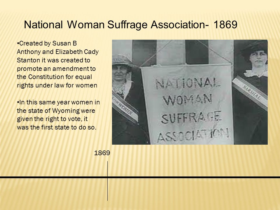 National Woman Suffrage Association- 1869