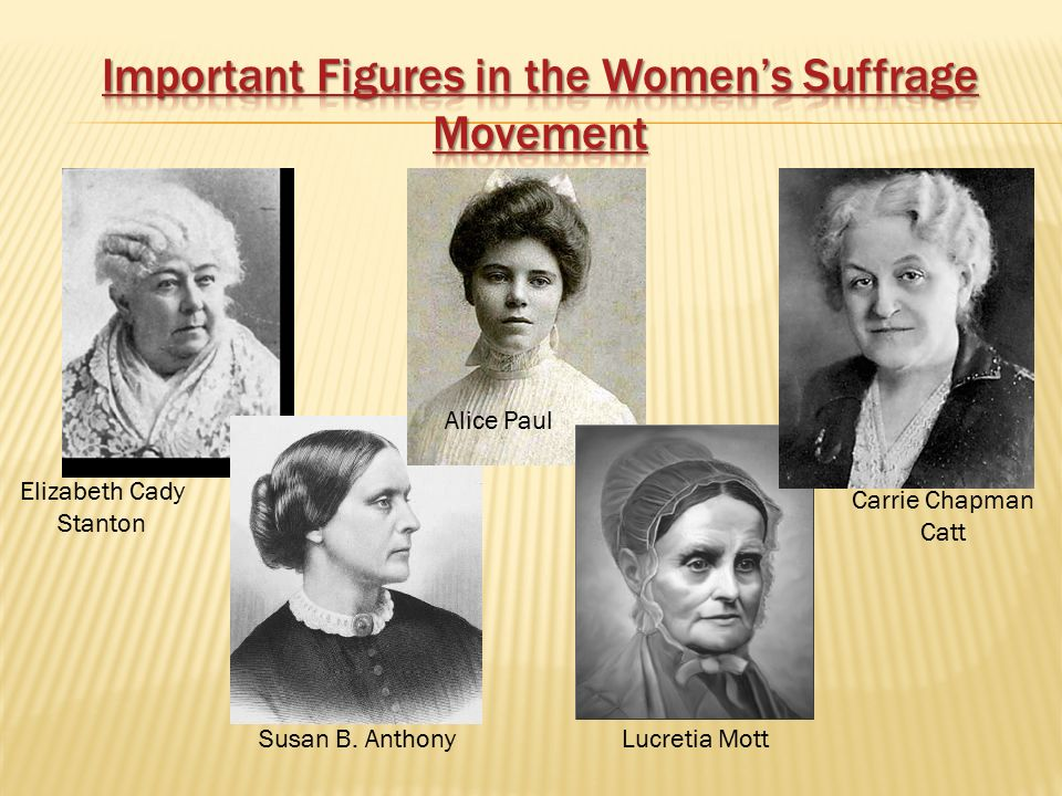Important Figures in the Women's Suffrage Movement