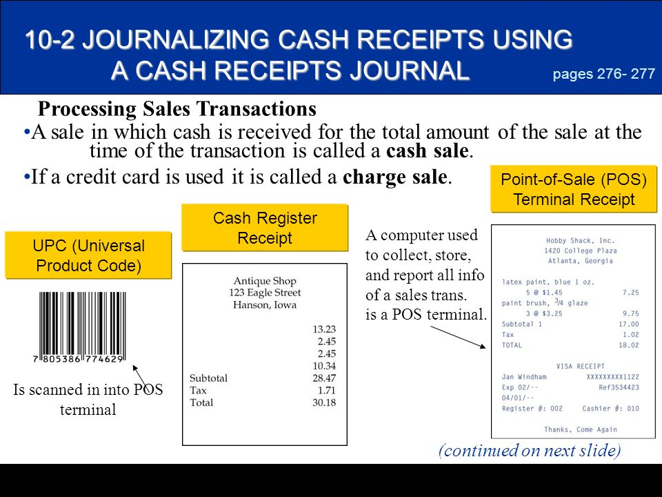 LESSON 10-2 Journalizing Sales & Cash Receipts Using Special