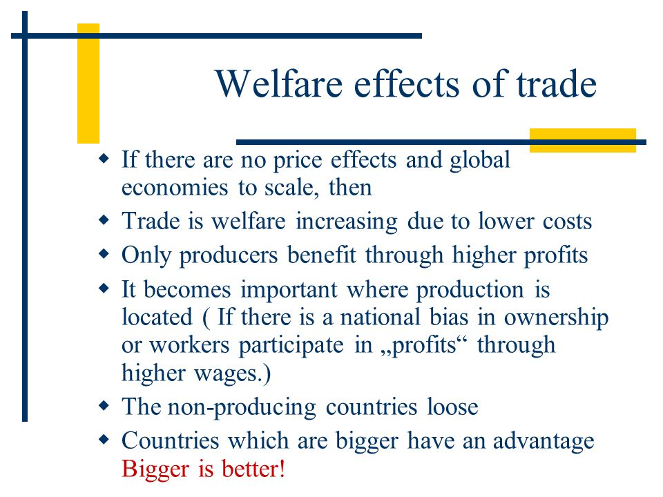 Welfare effects of trade