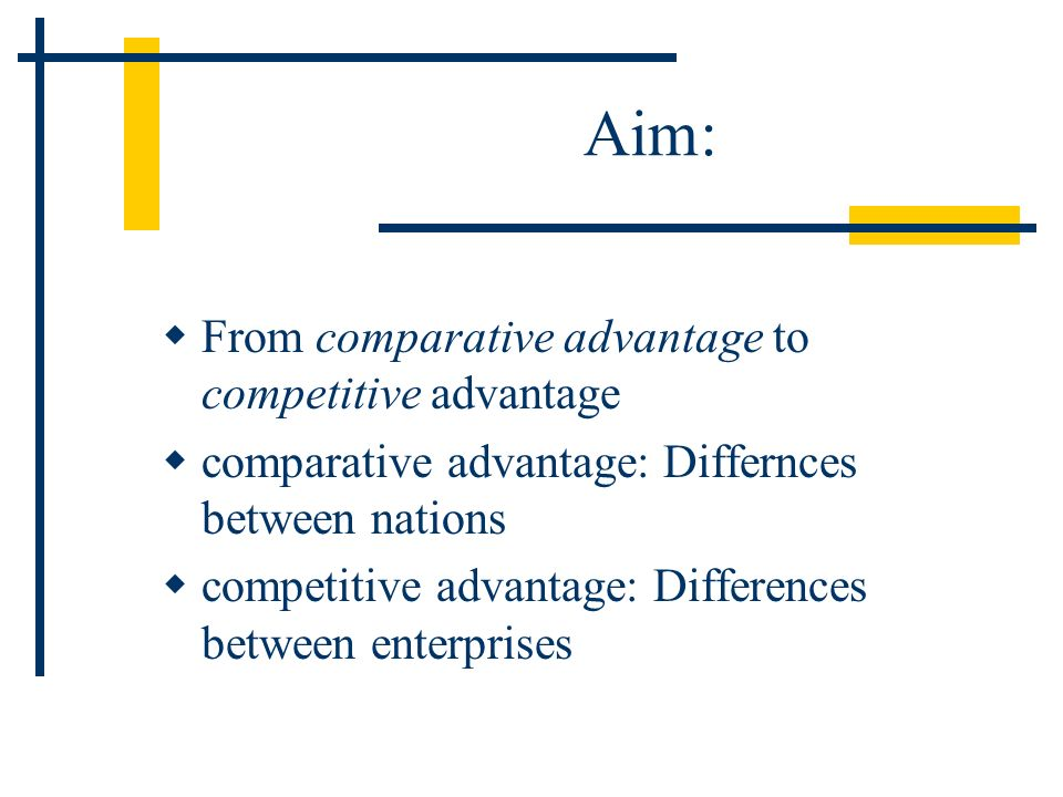 Aim: From comparative advantage to competitive advantage