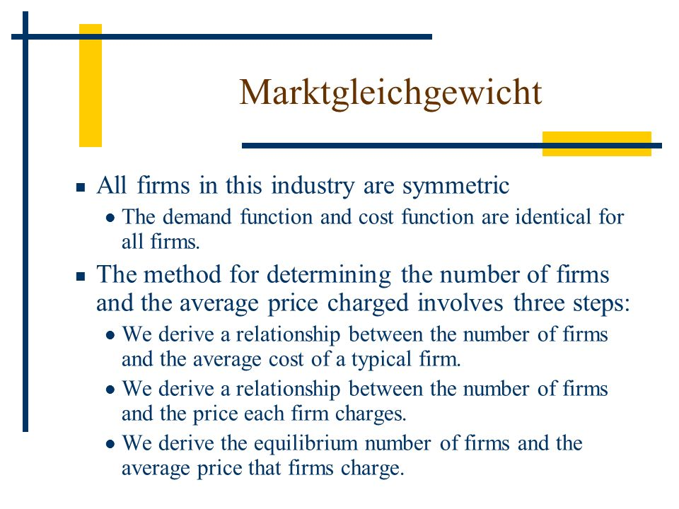 Marktgleichgewicht All firms in this industry are symmetric