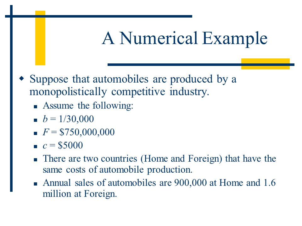 A Numerical Example Suppose that automobiles are produced by a monopolistically competitive industry.