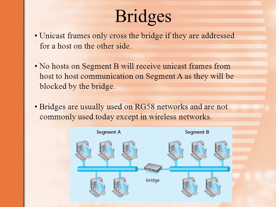 Bridges Unicast frames only cross the bridge if they are addressed for a host on the other side.