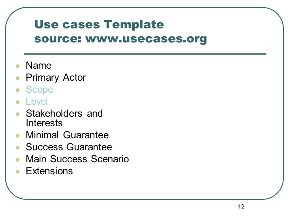 Use cases Template source: