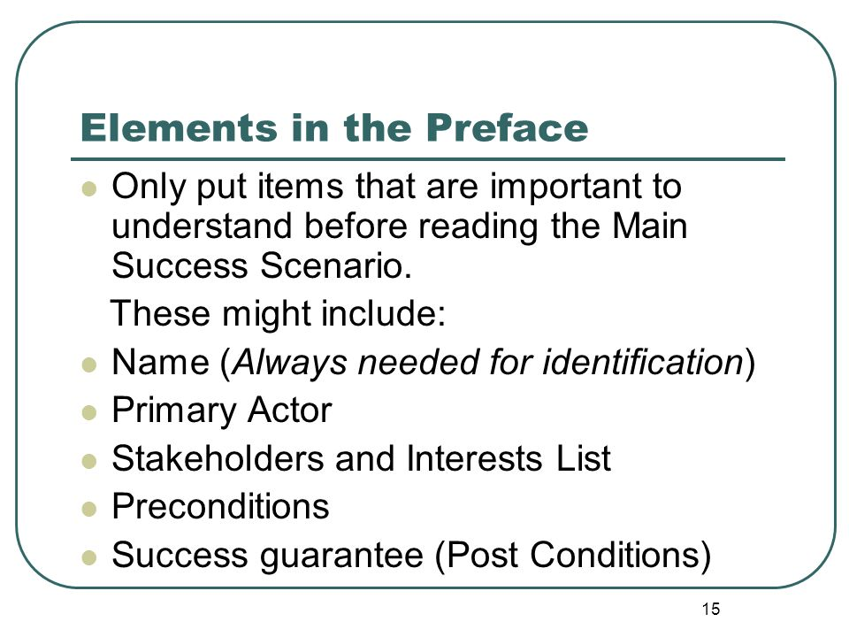 Elements in the Preface