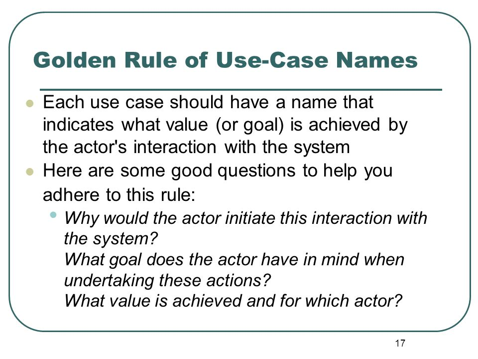 Golden Rule of Use-Case Names
