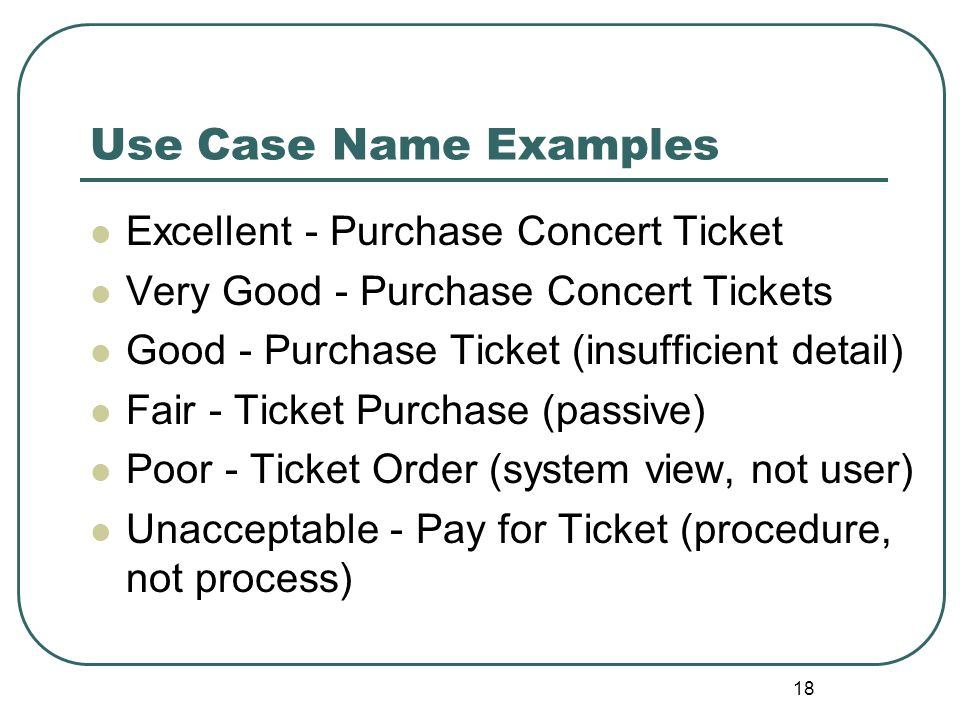 Use Case Name Examples Excellent - Purchase Concert Ticket