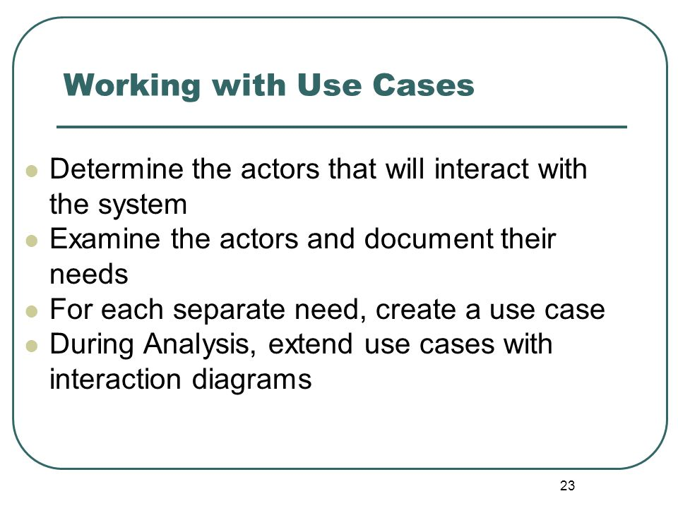 Working with Use Cases Determine the actors that will interact with the system. Examine the actors and document their needs.