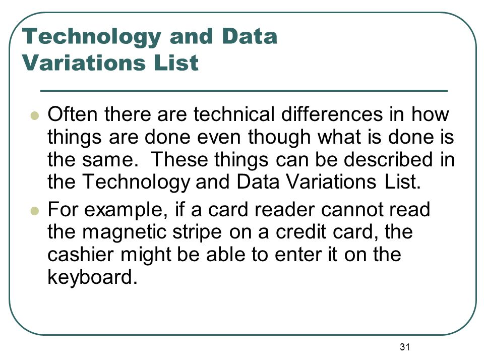 Technology and Data Variations List