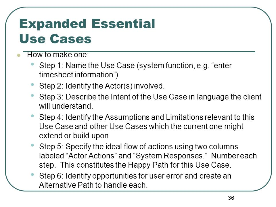 Expanded Essential Use Cases