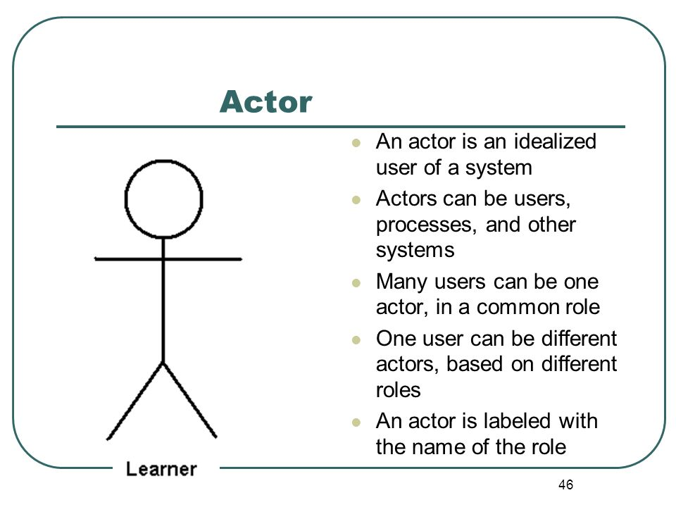 Actor An actor is an idealized user of a system