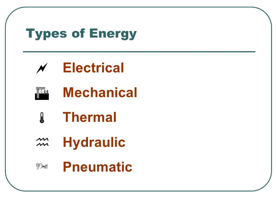 Types of Energy Electrical Mechanical Thermal Hydraulic Pneumatic 3