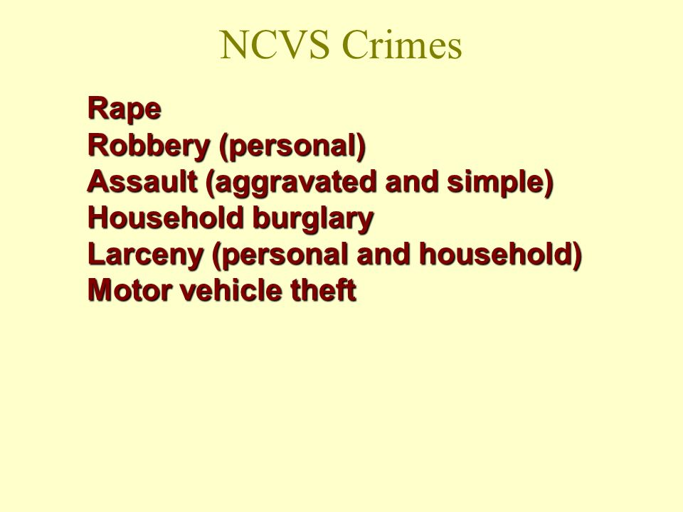NCVS Crimes Rape Robbery (personal) Assault (aggravated and simple)