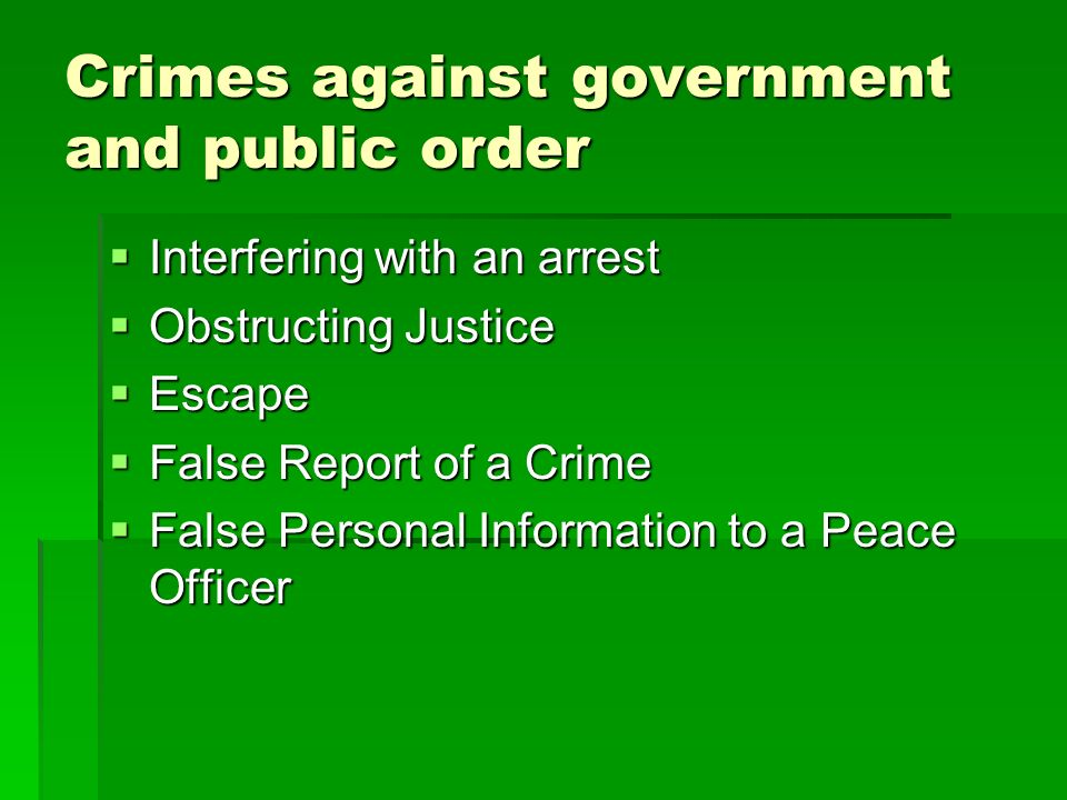 Crimes against government and public order