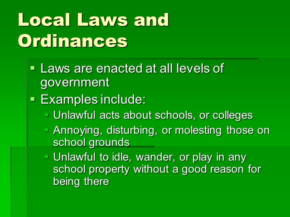 Local Laws and Ordinances