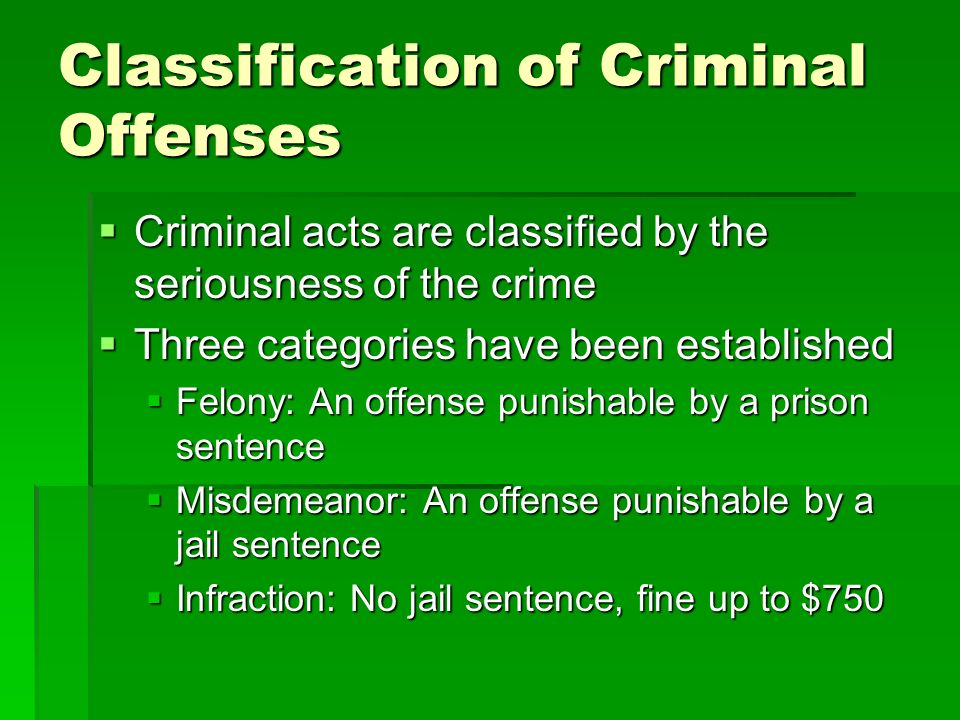 Classification of Criminal Offenses