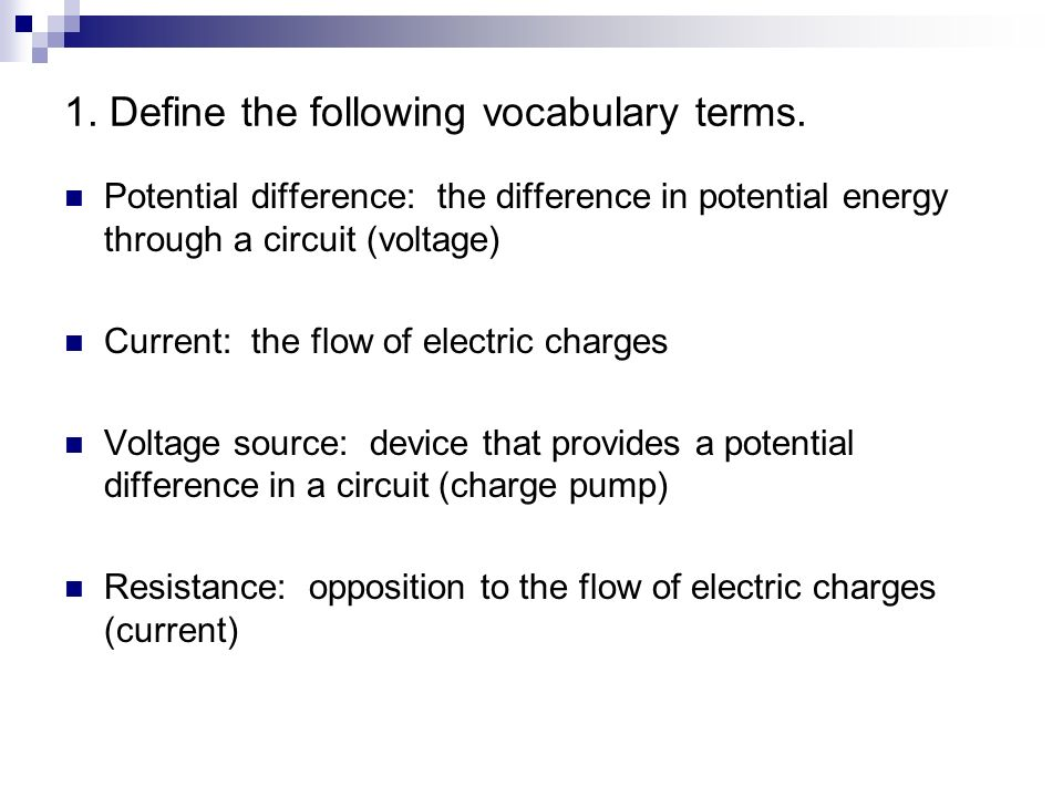 current electricity review answers ppt video online downloadelectric charges (current) 1 define the following vocabulary terms