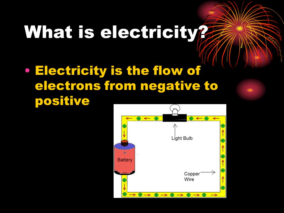 What is electricity Electricity is the flow of electrons from negative to positive
