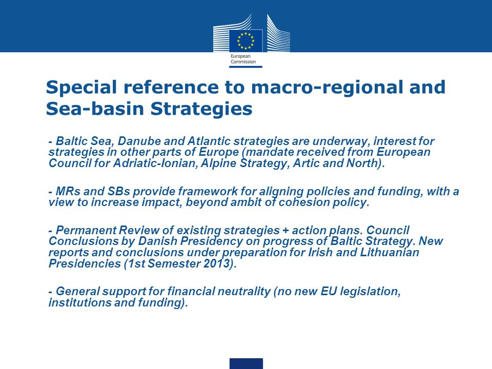 Special reference to macro-regional and Sea-basin Strategies