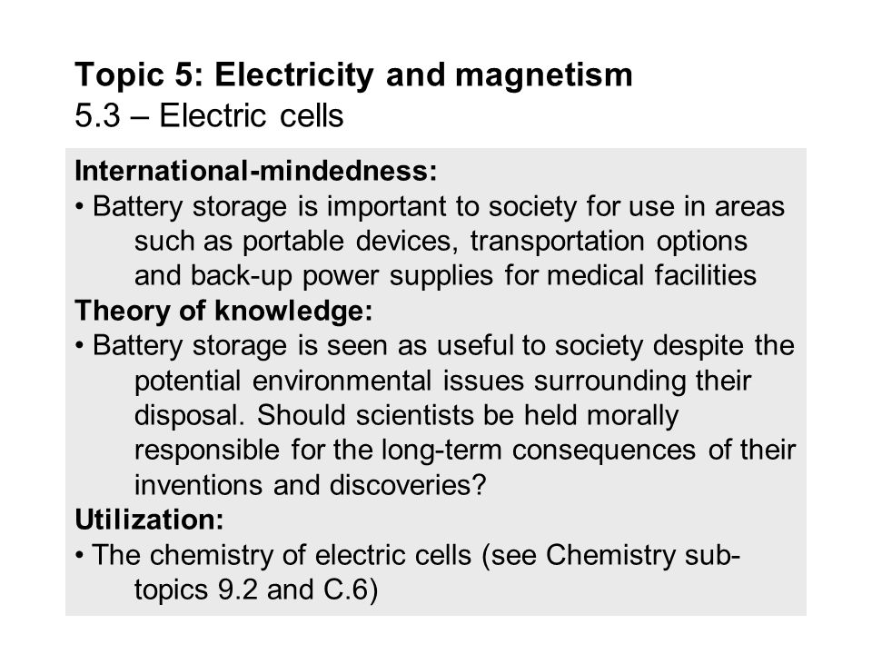 Topic 5: Electricity and magnetism 5.3 – Electric cells - ppt video ...