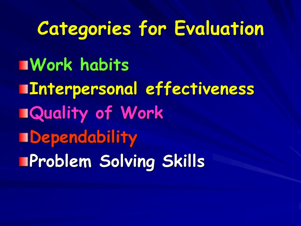 Categories for Evaluation
