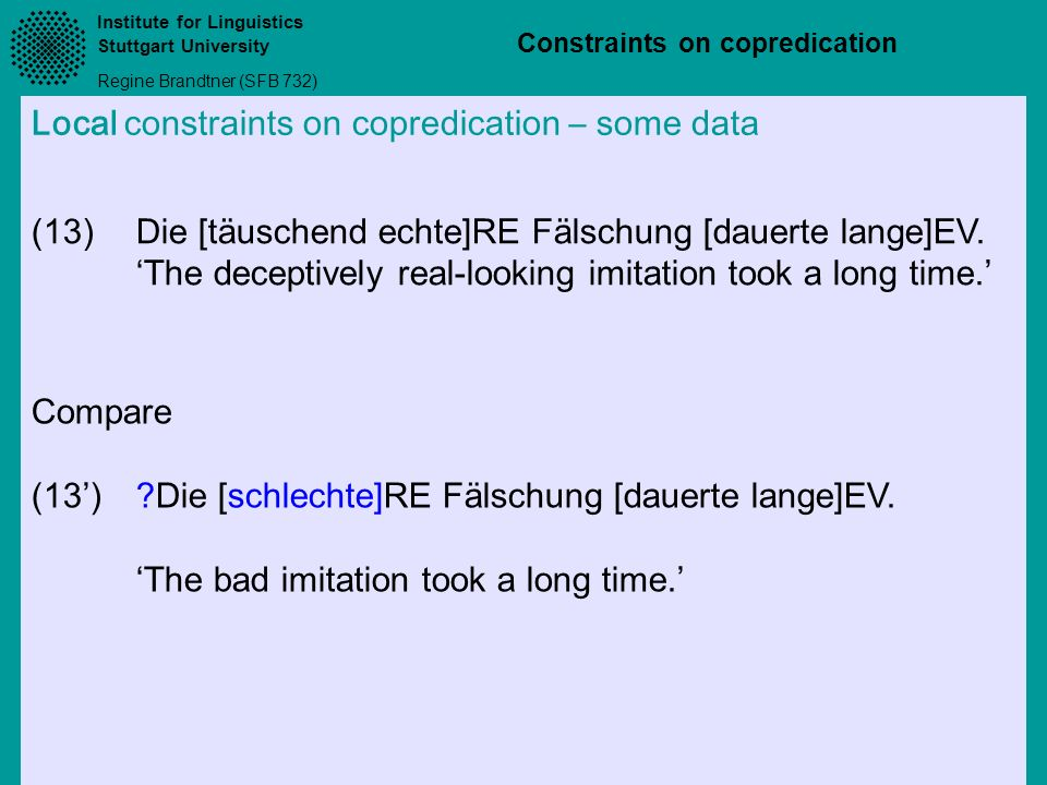 Local constraints on copredication – some data