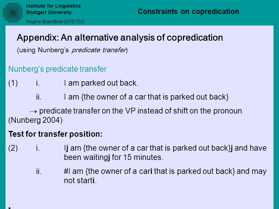 Appendix: An alternative analysis of copredication
