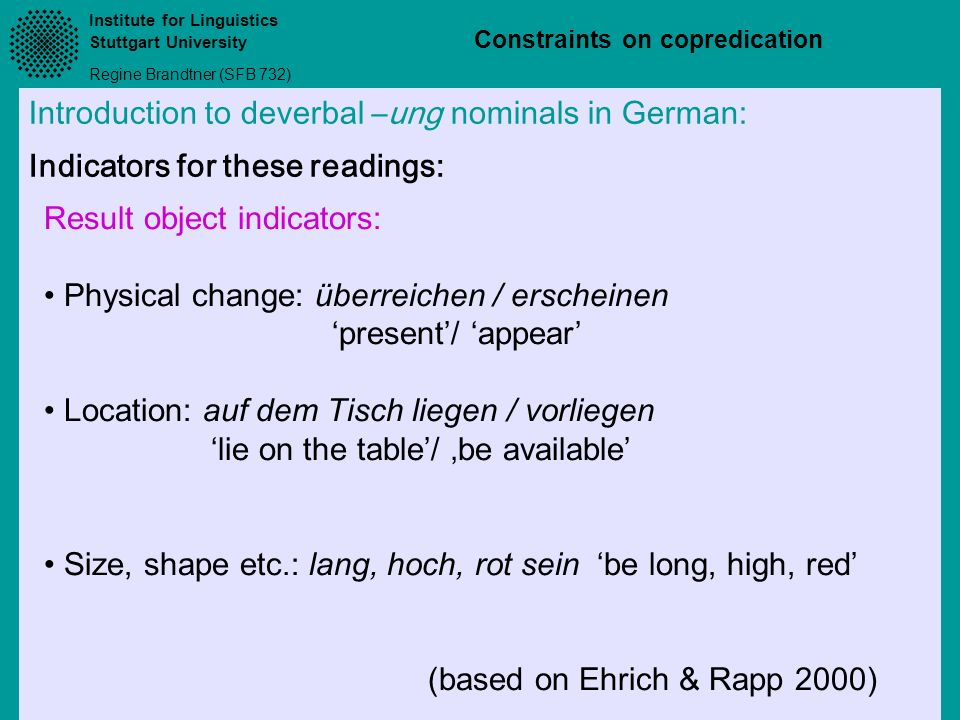 Introduction to deverbal –ung nominals in German: