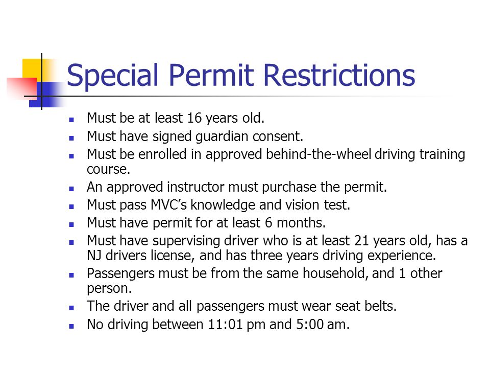 Special Permit Restrictions
