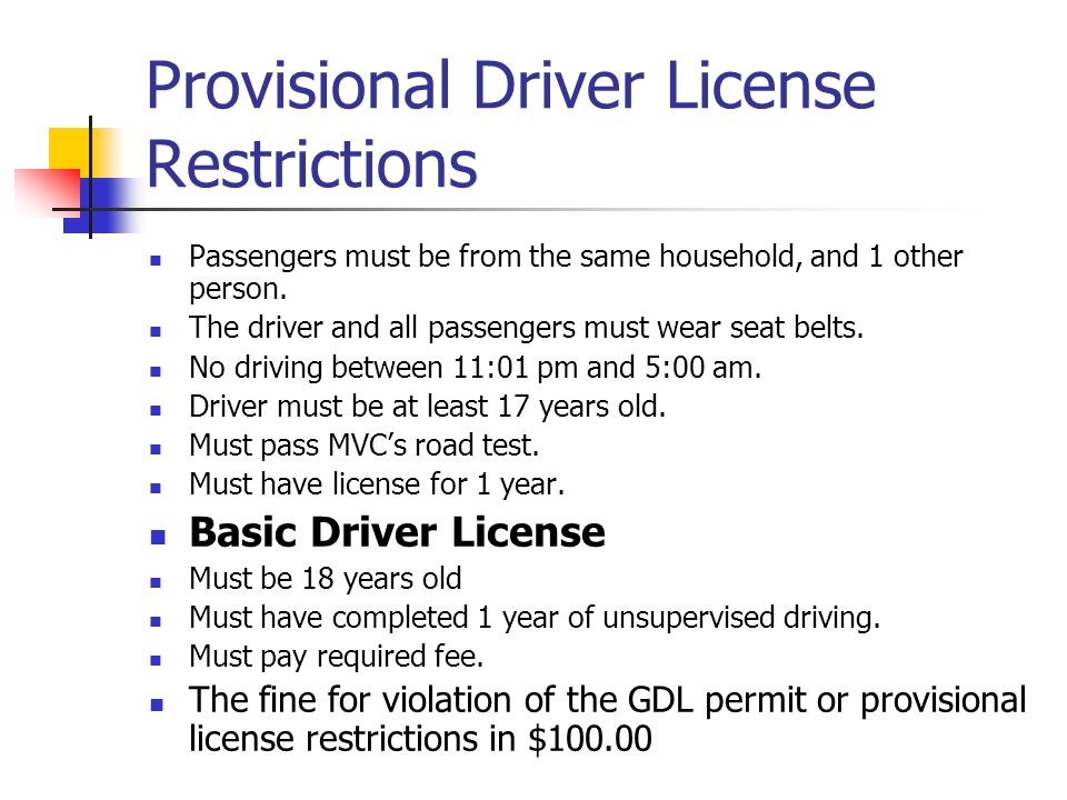 Provisional Driver License Restrictions