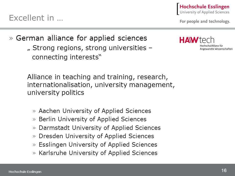 Excellent in … German alliance for applied sciences