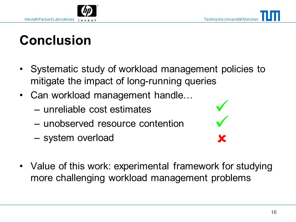 Conclusion Systematic study of workload management policies to mitigate the impact of long-running queries.