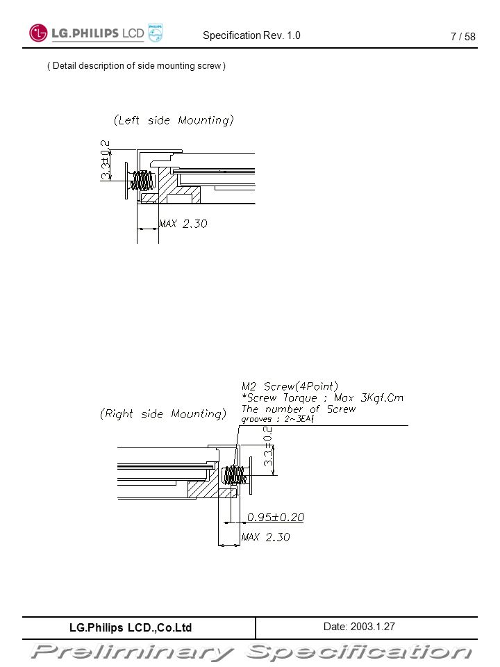 ( Detail description of side mounting screw )