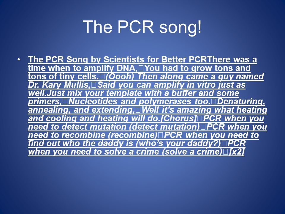 The PCR song!